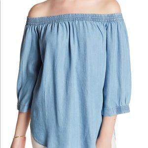 JOE FRESH Light  denim off the shoulder blouse
